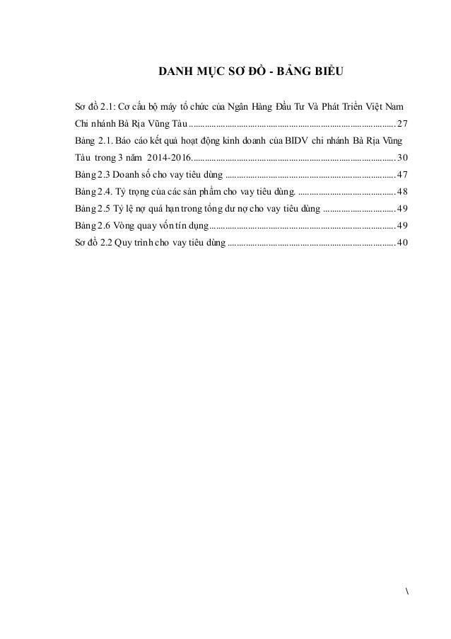 DANH MỤC SƠ ĐỒ - BẢNG BIỂU Sơ đồ 2.1: Cơ cấu bộ máy tổ chức của Ngân Hàng Đầu Tư Và Phát Triển Việt Nam Chi nhánh Bà Rịa V...