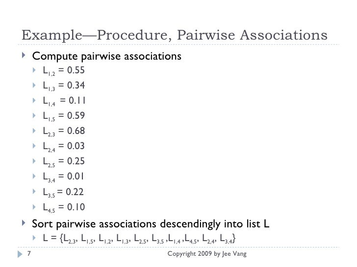 Example—Procedure, Pairwise Associations  <ul><li>Compute pairwise associations </li></ul><ul><ul><li>L 1,2  = 0.55 </li><...
