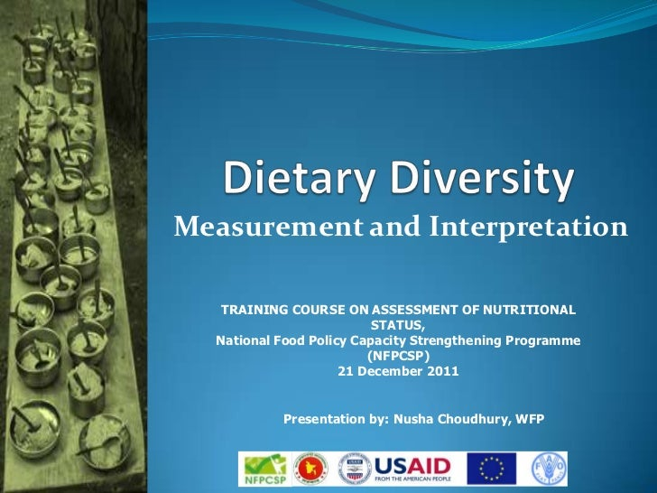 Measurement and Interpretation   TRAINING COURSE ON ASSESSMENT OF NUTRITIONAL                          STATUS,  National F...