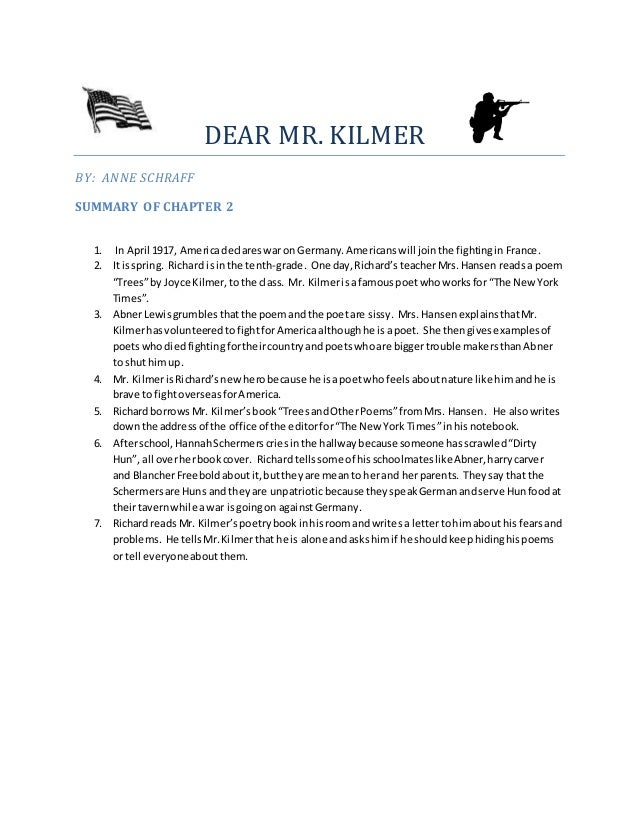 DEAR MR. KILMER BY: ANNE SCHRAFF SUMMARY OF CHAPTER 2 1. In April 1917, Americadeclareswaron Germany.Americanswill jointhe...