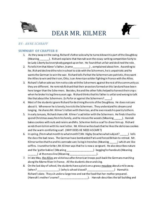 Summary of dear mr kilmer