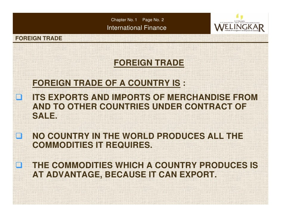 Chapter No. 1   Page No. 2                    International FinanceFOREIGN TRADE   CONSUMER PROTECTION IN INDIA           ...