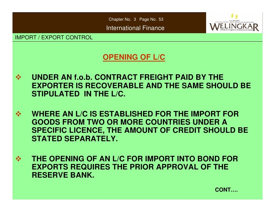 Import and Export Control