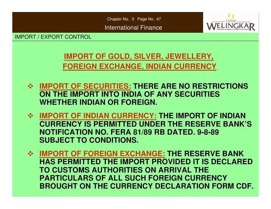 exchange control regulations exports State bank of pakistan foreign exchange manual chapter import policy/exchange regulations in of this manual or the import trade control regulations.