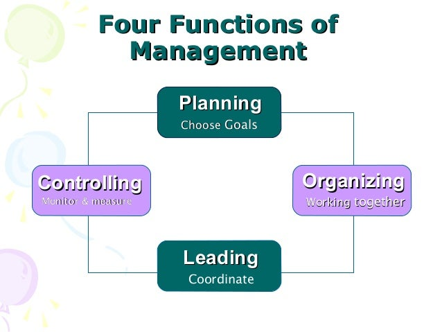 discuss planning as one of four functions of management and explain how the function relates to an o The management function is some scholars mention just four functions: planning i agre with mahfoz that all four functions are important if one of the.