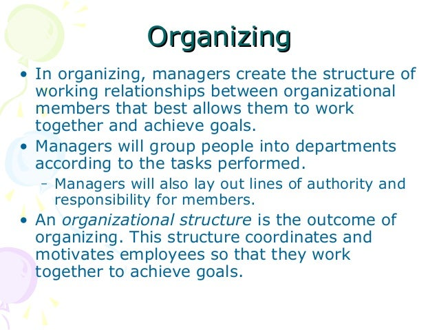 organizing function of management The 4 functions of management business essay introduction 2 11 definition of management 2 2) the functions of managemennt 3 3) planning 3 31 uses of business planning 4  organizing the second function of management is organizing a manager cannot do everything by himself thus, tasks must be delegated to others in the organization.