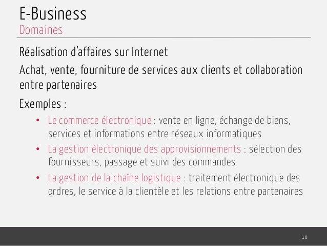 E-Business Réalisation d'affaires sur Internet Achat, vente, fourniture de services aux clients et collaboration entre par...