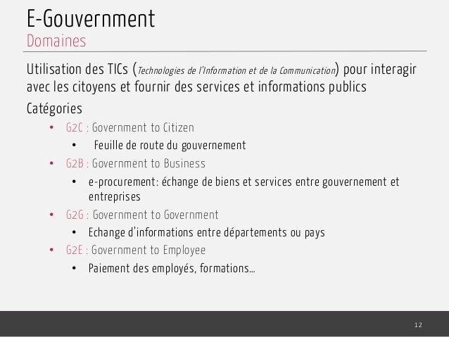E-Gouvernment Utilisation des TICs (Technologies de l'Information et de la Communication) pour interagir avec les citoyens...