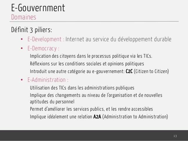 E-Gouvernment Définit 3 piliers: • E-Development : Internet au service du développement durable • E-Democracy : Implicat...