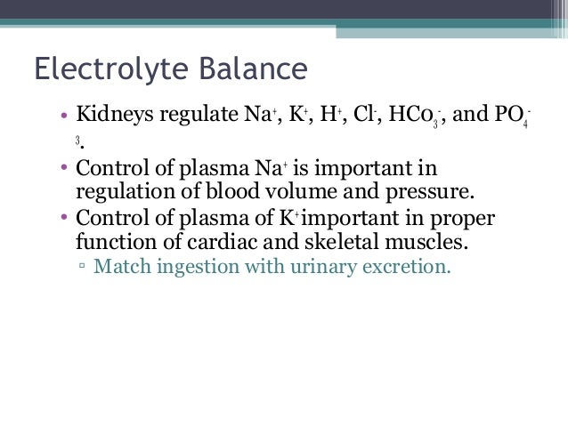 Electrolyte Balance • Kidneys regulate Na+ , K+ , H+ , Cl- , HC03 - , and PO4 - 3 . • Control of plasma Na+ is important i...