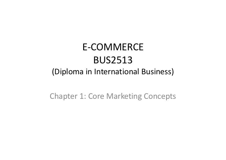 E-COMMERCE          BUS2513(Diploma in International Business)Chapter 1: Core Marketing Concepts