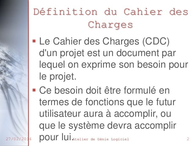 Chp2 cahier des charges - Cahier des charges def ...