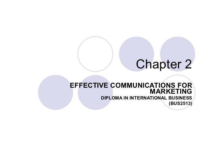 Chapter 2 EFFECTIVE COMMUNICATIONS FOR MARKETING DIPLOMA IN INTERNATIONAL BUSINESS (BUS2513)