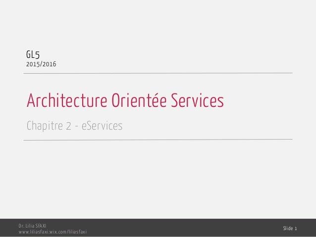 Architecture Orientée Services Chapitre 2 - eServices GL5 2015/2016 Dr. Lilia SFAXI www.liliasfaxi.wix.com/liliasfaxi Slid...