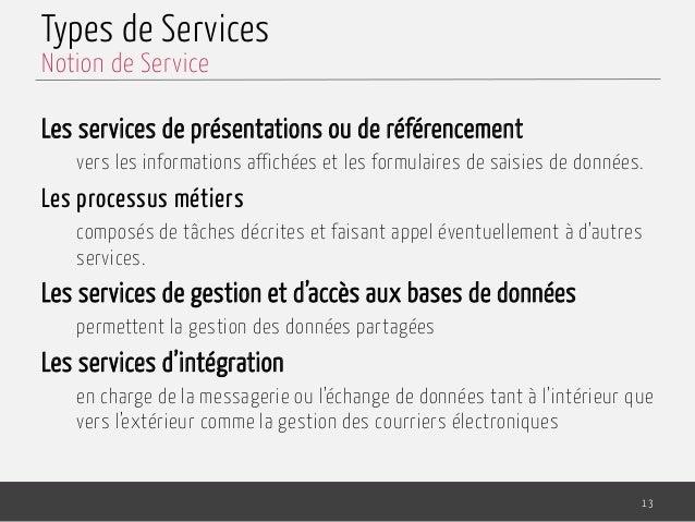 Types de Services Les services de présentations ou de référencement vers les informations affichées et les formulaires de ...