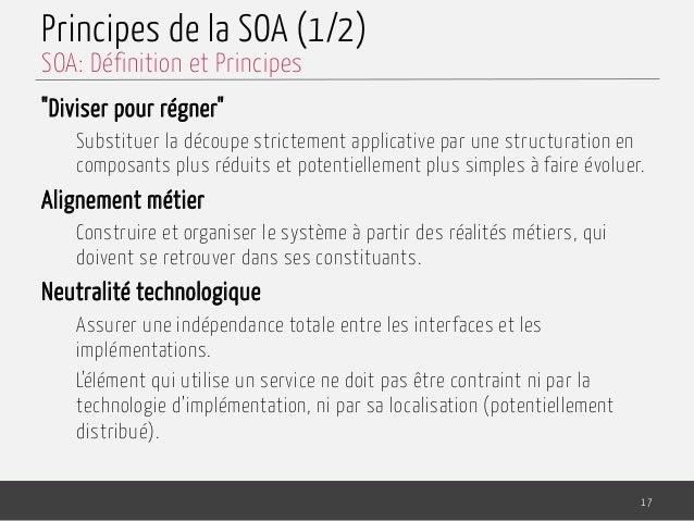 """Principes de la SOA (1/2) """"Diviser pour régner"""" Substituer la découpe strictement applicative par une structuration en com..."""