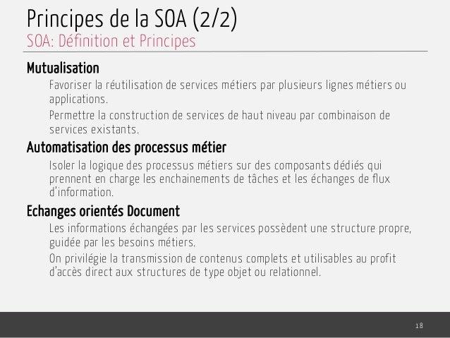 Principes de la SOA (2/2) Mutualisation Favoriser la réutilisation de services métiers par plusieurs lignes métiers ou app...