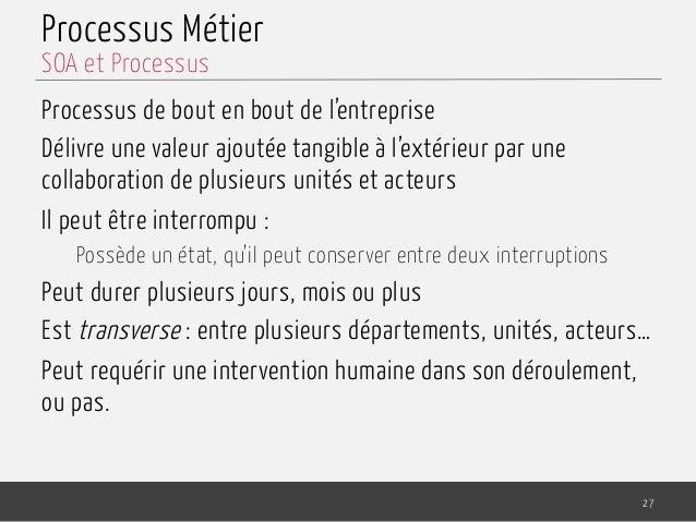Processus Métier Processus de bout en bout de l'entreprise Délivre une valeur ajoutée tangible à l'extérieur par une colla...