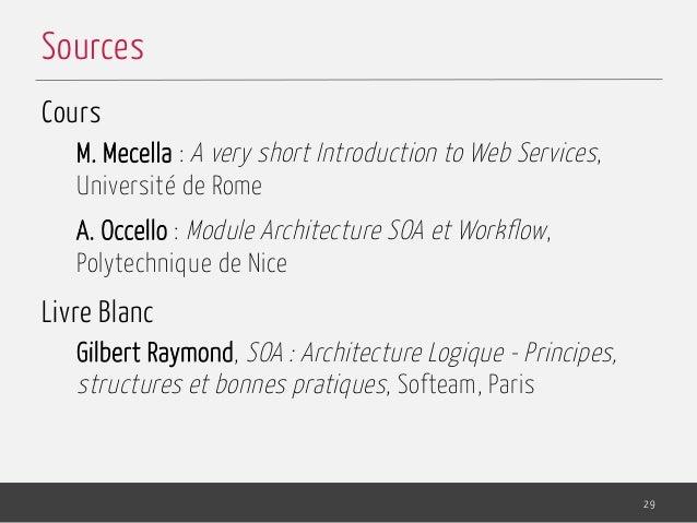 Cours M. Mecella : A very short Introduction to Web Services, Université de Rome A. Occello : Module Architecture SOA et W...