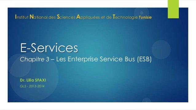 Institut National des Sciences Appliquées et de Technologie Tunisie  E-Services  Chapitre 3 – Les Enterprise Service Bus (...