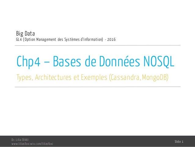 Chp4 – Bases de Données NOSQL Types, Architectures et Exemples (Cassandra, MongoDB) Big Data GL4 (Option Management des Sy...