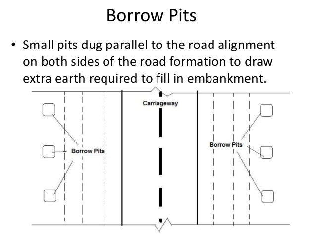 Borrow Pits • Small pits dug parallel to the road alignment on both sides of the road formation to draw extra earth requir...
