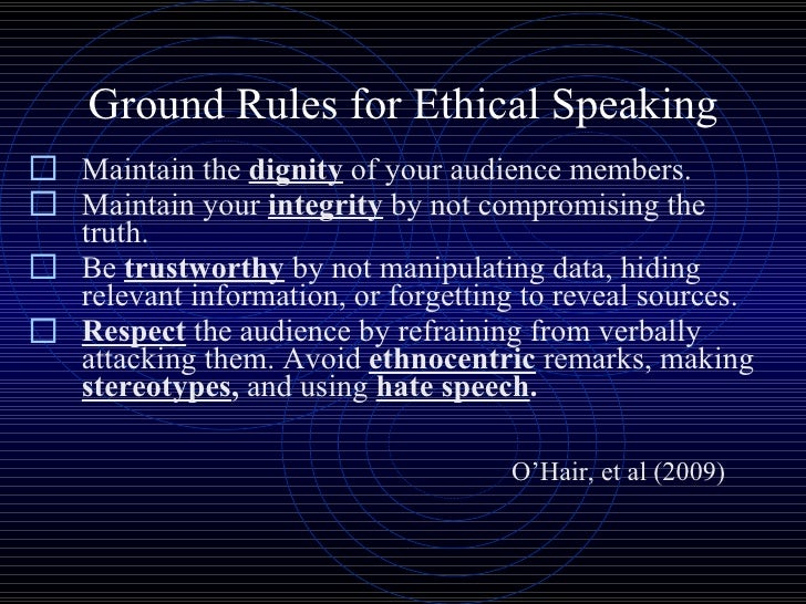 ethics of public speaking Ethical listening doesn't just take place inside the body  of the public speaking process a man without ethics is a wild beast loosed upon this world.