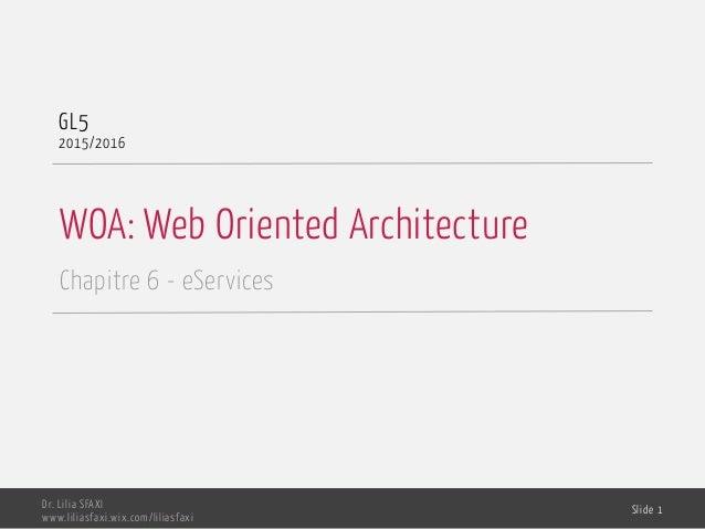 WOA: Web Oriented Architecture Chapitre 6 - eServices GL5 2015/2016 Dr. Lilia SFAXI www.liliasfaxi.wix.com/liliasfaxi Slid...