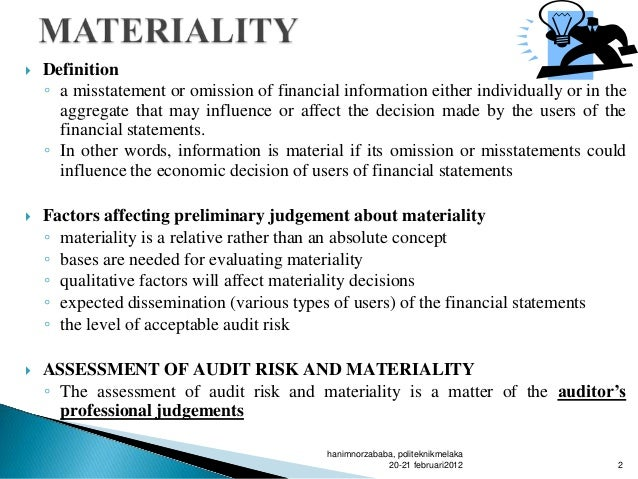 planning materiality and tolerable misstatement essay Essay about case 71 anne aylor tolerable misstatement (in thousands): planning materiality: $6,678 multiplication.