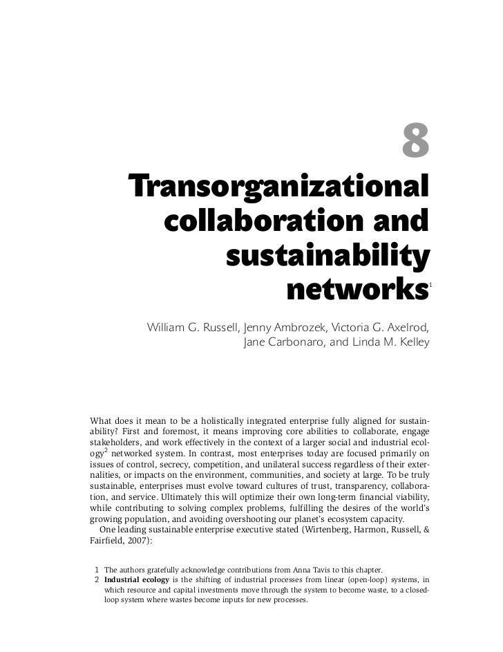 8           Transorganizational             collaboration and                  sustainability                             ...