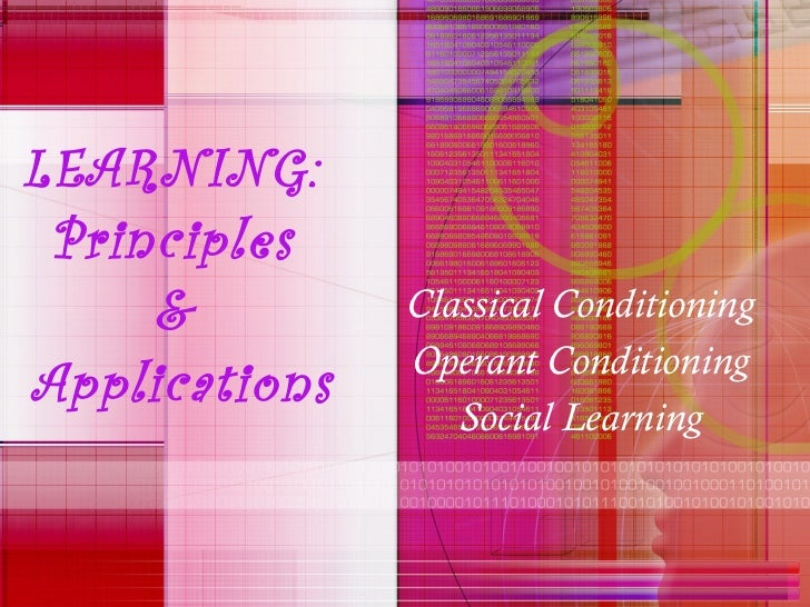 LEARNING:  Principles  &  Applications Classical Conditioning Operant Conditioning Social Learning