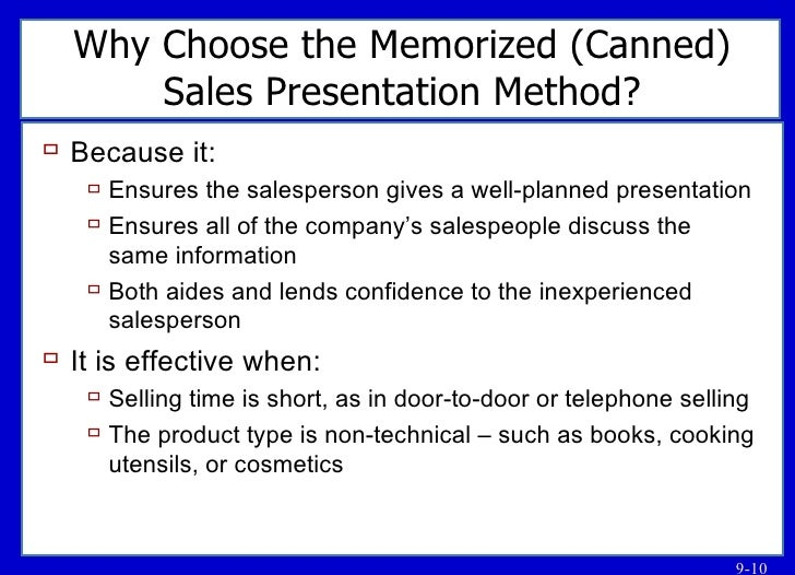 Sales presentation methods