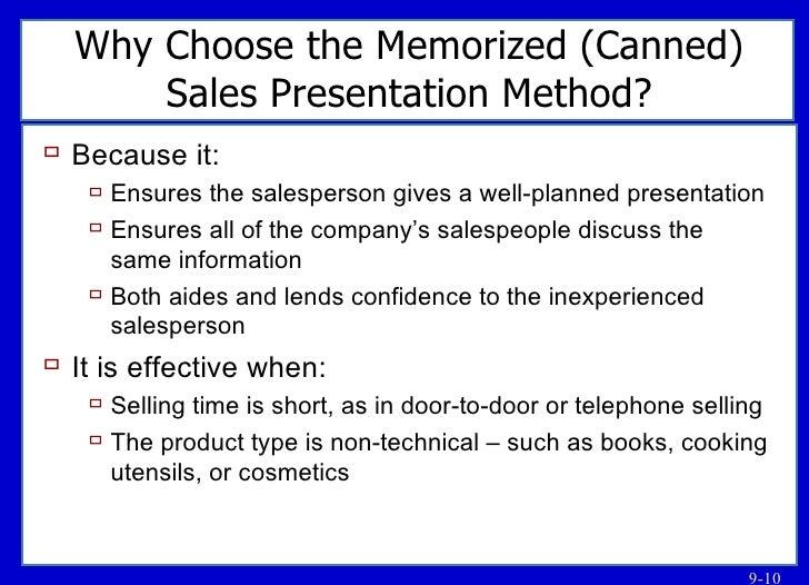Sales presentation methods
