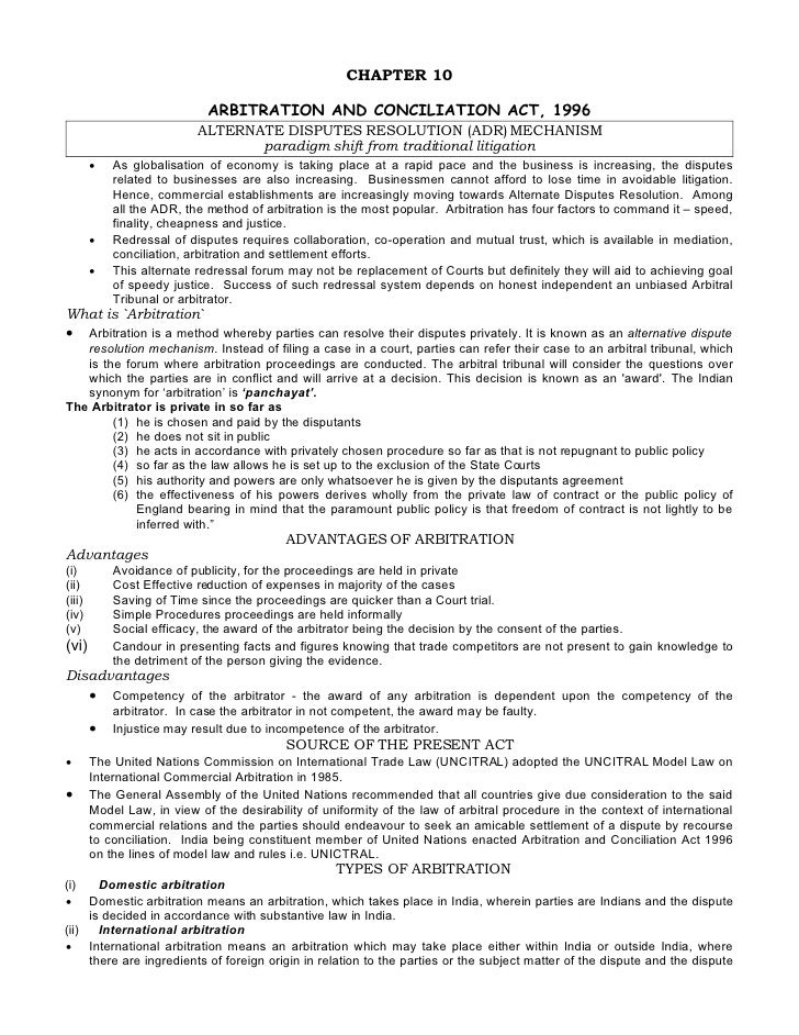 CHAPTER 10                               ARBITRATION AND CONCILIATION ACT, 1996                            ALTERNATE DISPU...