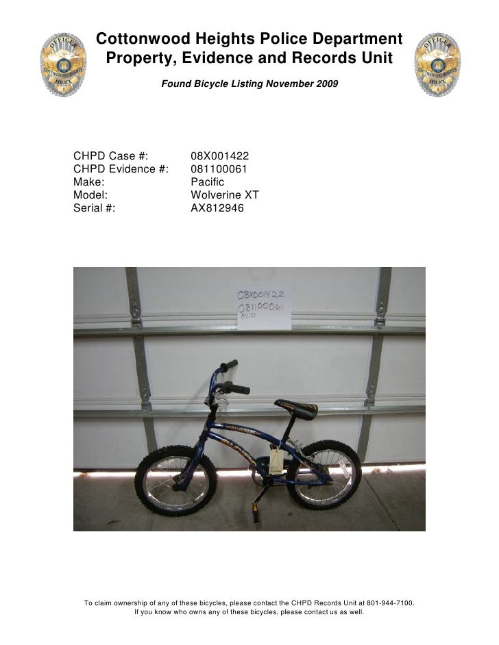 Cottonwood Heights Police Department      Property, Evidence and Records Unit                        Found Bicycle Listing...