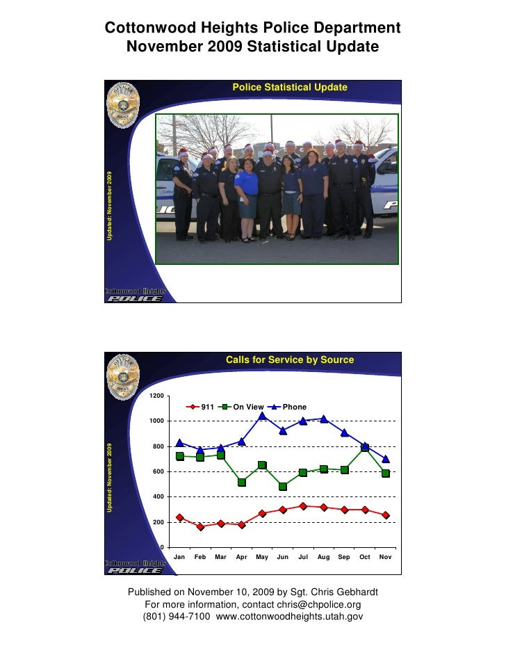Cottonwood Heights Police Department   November 2009 Statistical Update                                                   ...