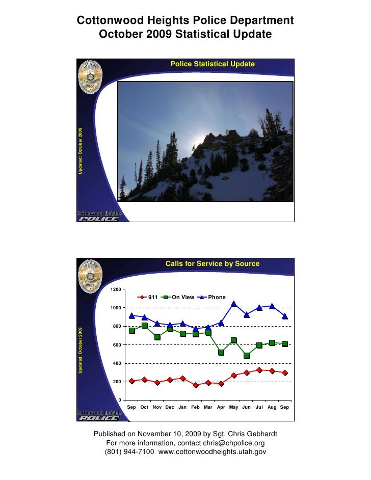 Cottonwood Heights Police Department     October 2009 Statistical Update                                                  ...