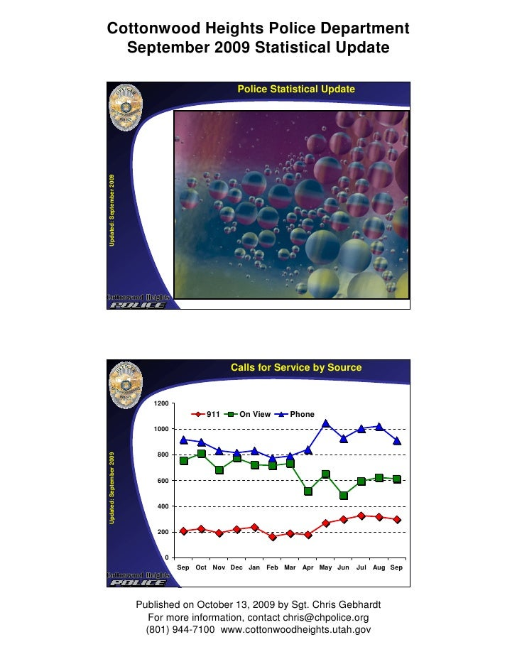 Cottonwood Heights Police Department   September 2009 Statistical Update                                                  ...