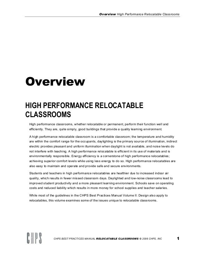 Best Practices Manual, Vol.III: Criteria for High Performance Schools