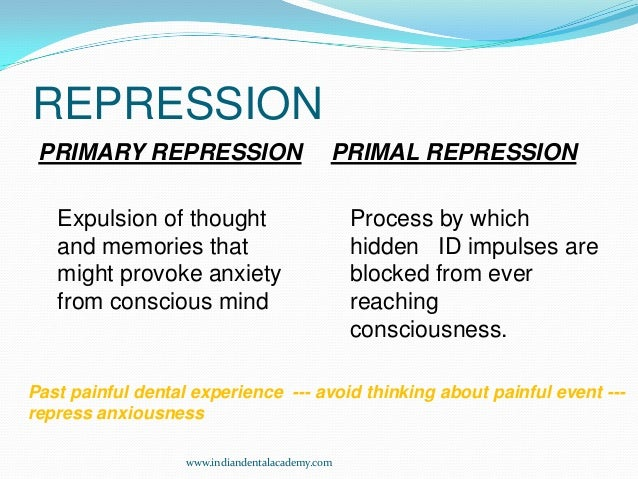 repression psychology Book t of c chap t of c prev page next page this is the 2007 version click here for the 2017 chapter 11 table of contents repression freud believed the id was a source of childish or uncivilized thoughts and feelings, many of which (like lust or hatred for parents) were unacceptable to the ego.