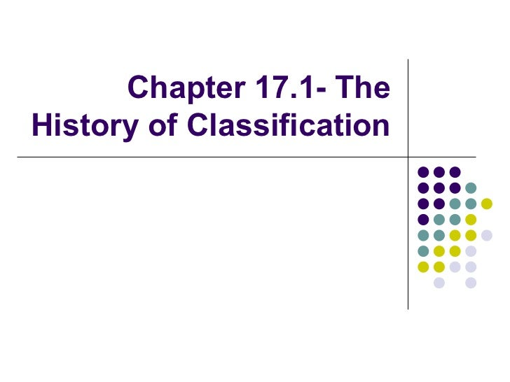 Chapter 17.1- The History of Classification
