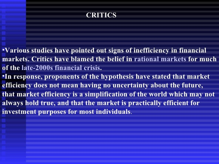 the emh the financial crisis and For more than four decades, financial markets and the regulations that govern them were underpinned by what is known as the efficient markets hypothesis all that changed after the financial crisis.