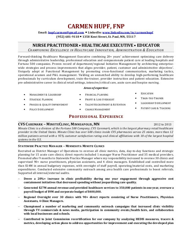 Carmen hupf resume for Nurse practitioner contract template