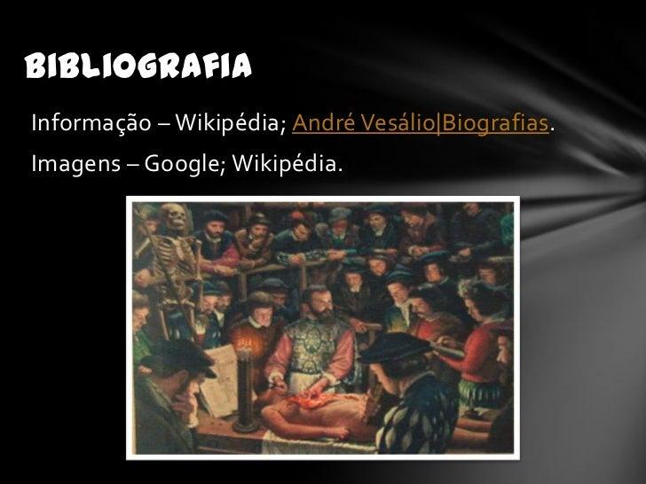 BibliografiaInformação – Wikipédia; André Vesálio Biografias.Imagens – Google; Wikipédia.