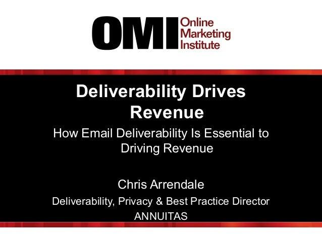 Deliverability Drives Revenue How Email Deliverability Is Essential to Driving Revenue Chris Arrendale Deliverability, Pri...