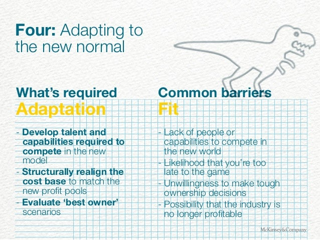 Four: Adapting to the new normal What's required Adaptation - Develop talent and capabilities required to compete in the n...