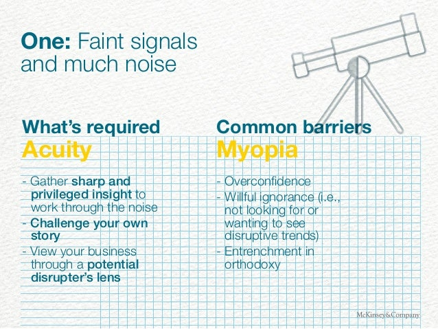 One: Faint signals and much noise What's required Acuity - Gather sharp and privileged insight to work through the noise -...