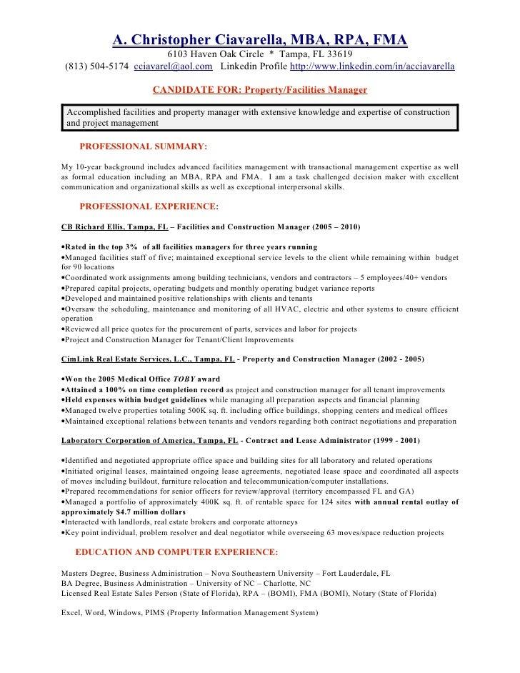 chris ciavarella resume - Leasing Administrator Sample Resume