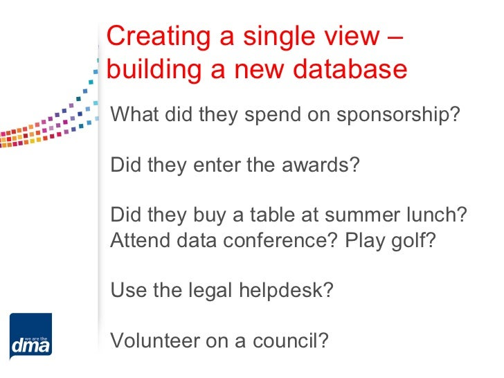 Creating a single view –building a new databaseWhat did they spend on sponsorship?Did they enter the awards?Did they buy a...