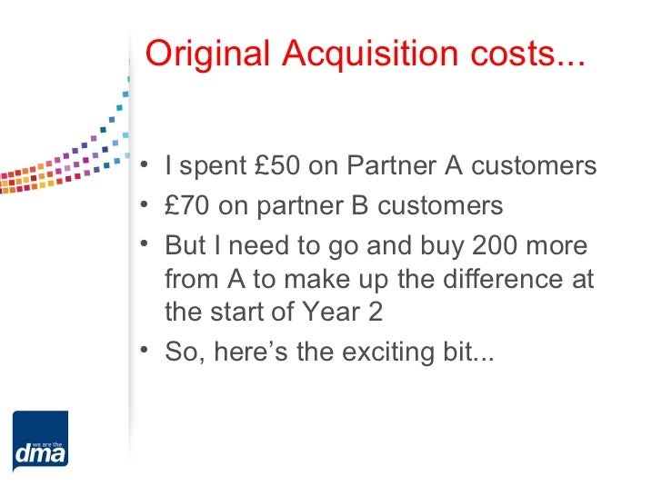 Original Acquisition costs...• I spent £50 on Partner A customers• £70 on partner B customers• But I need to go and buy 20...